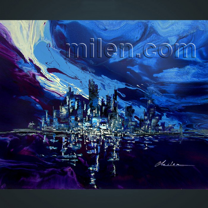 New York Blue print abstract cityskyline