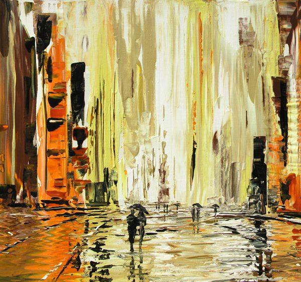 rainy cityscape, urban scape
