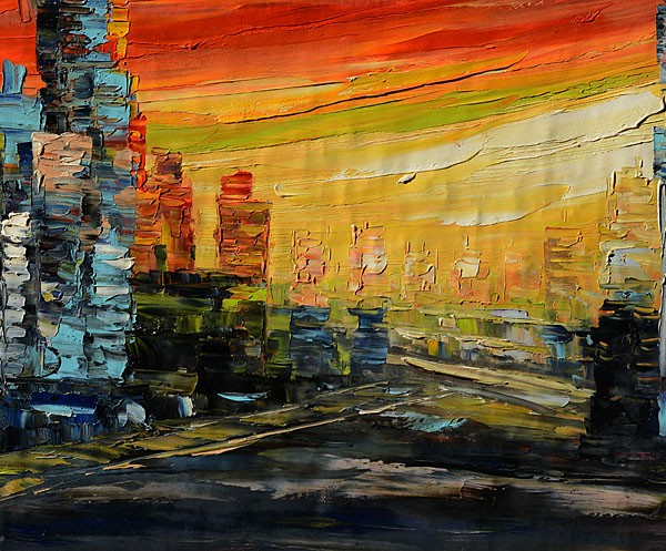 City Sunset impressionist
