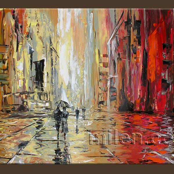 Rainy Square - cityscape