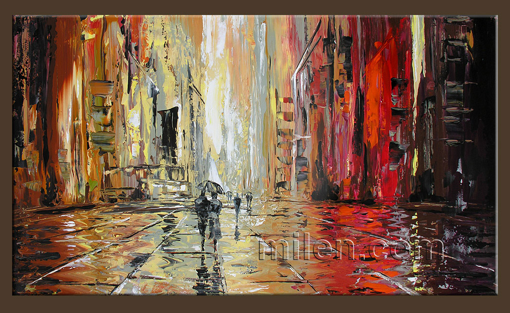Rainy Square Cityscape Abstract Paintings Amazing
