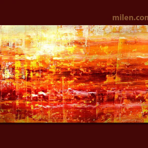abstract hot summer painting scraped art