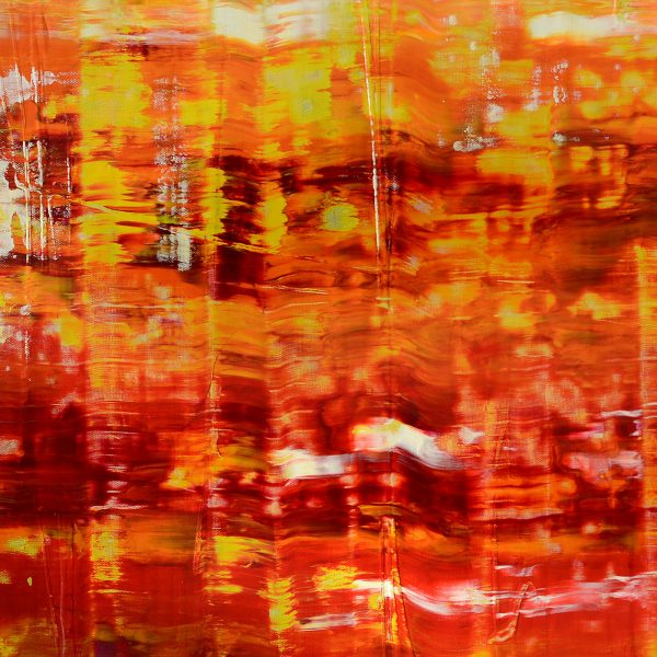 abstract painting scraped art red orange huge
