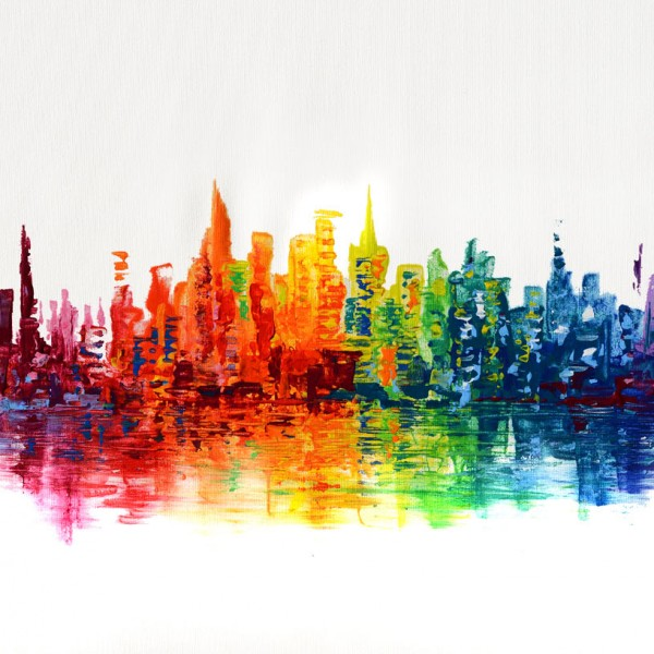 Skyscrapers spectrum-abstract-painting-original