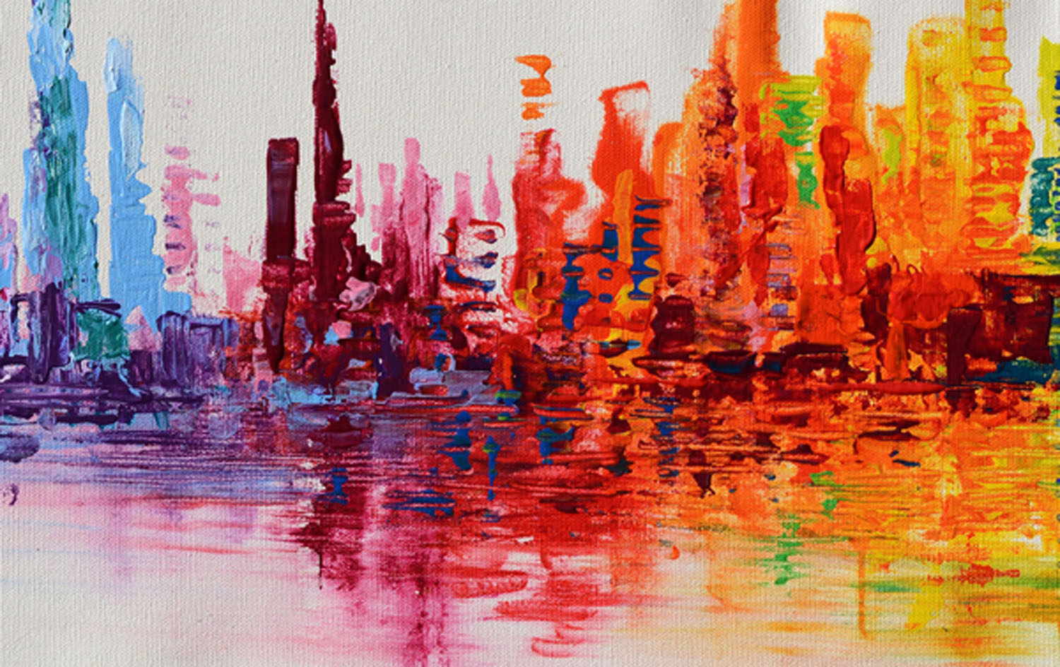 Skyscrapers spectrum abstract painting original abstract for A mural is painted on a