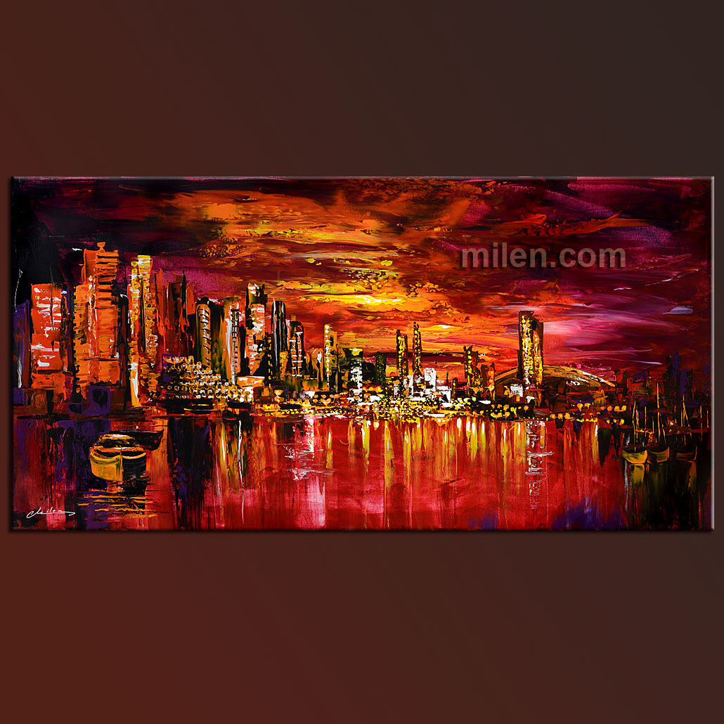 Vancouver reflections red skyline painting abstract for Peinture mural original