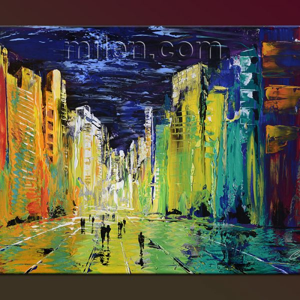 Sunny City Night impressionist abstract painting