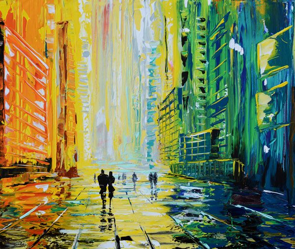 Rainy Square modern skyline painting original