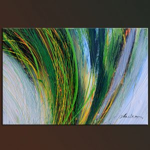 Green Wind modern abstract contemporary green blue yellow colors.