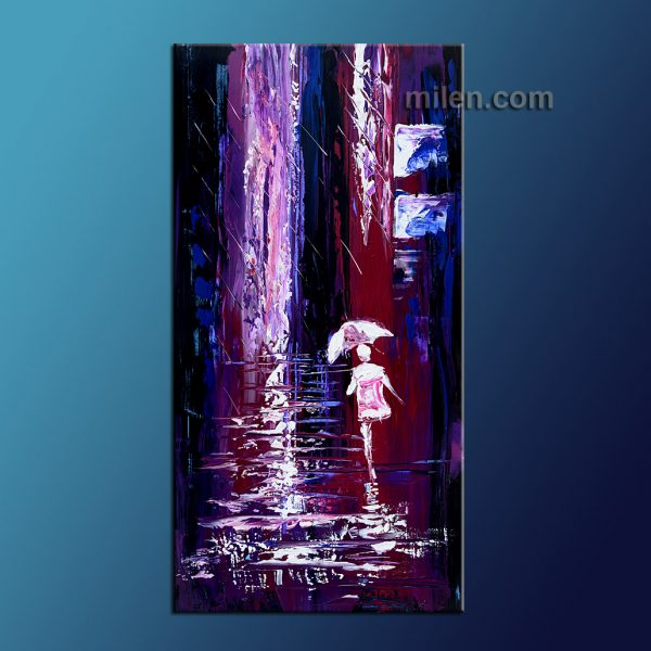 purple rain abstract cityscape, skyline, city painting, huge original painting