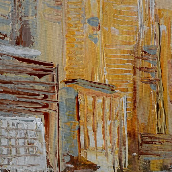 soft afternoon-beige-painting-modern beige brown cityscape original abstract painting oil on canvas