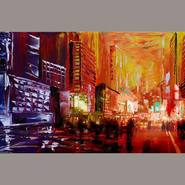 Midnight Reflections - red cityscape painting