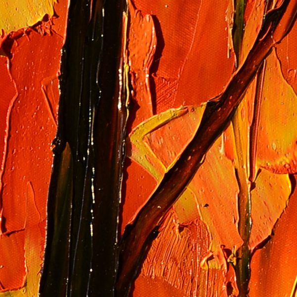 Red Maple - oil impasto orange tree