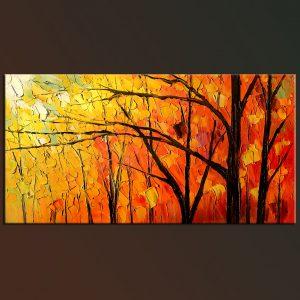 Red Maple - oil impasto orange tree