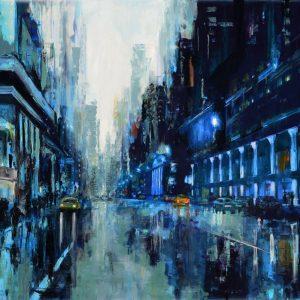 New York Blue - NY cityscape - cityscape realist painting.