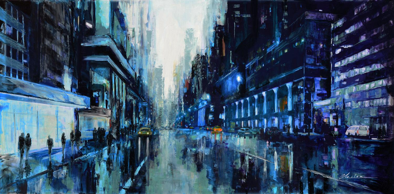 Blue Figure Modern Painting