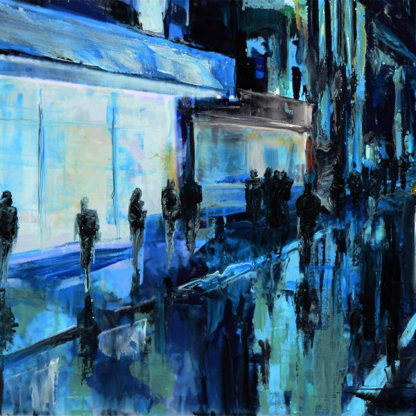 New York Blue - NY cityscape - realist painting.