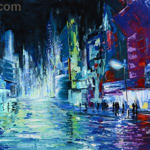 new york blue citiscape painting