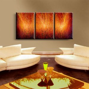 triptych red textured abstract painting