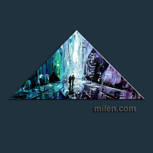 triangle blue cityscape painting