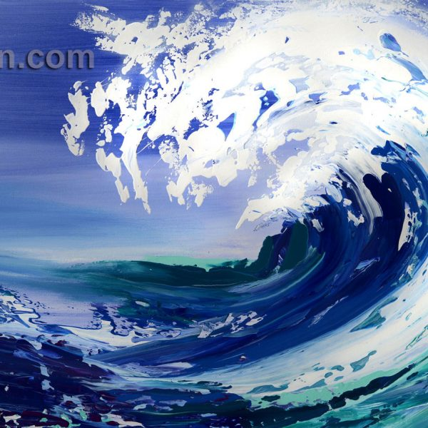 wave ocean blue abstract painting