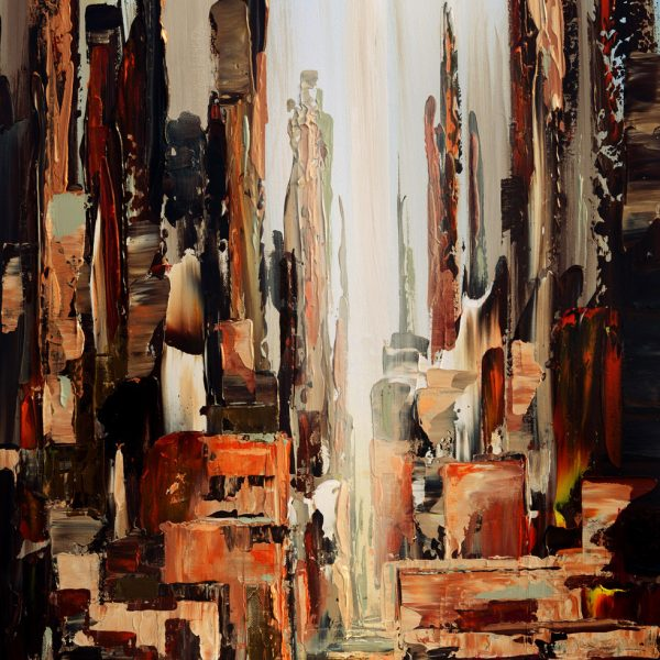 abstract paintings brown cityscape