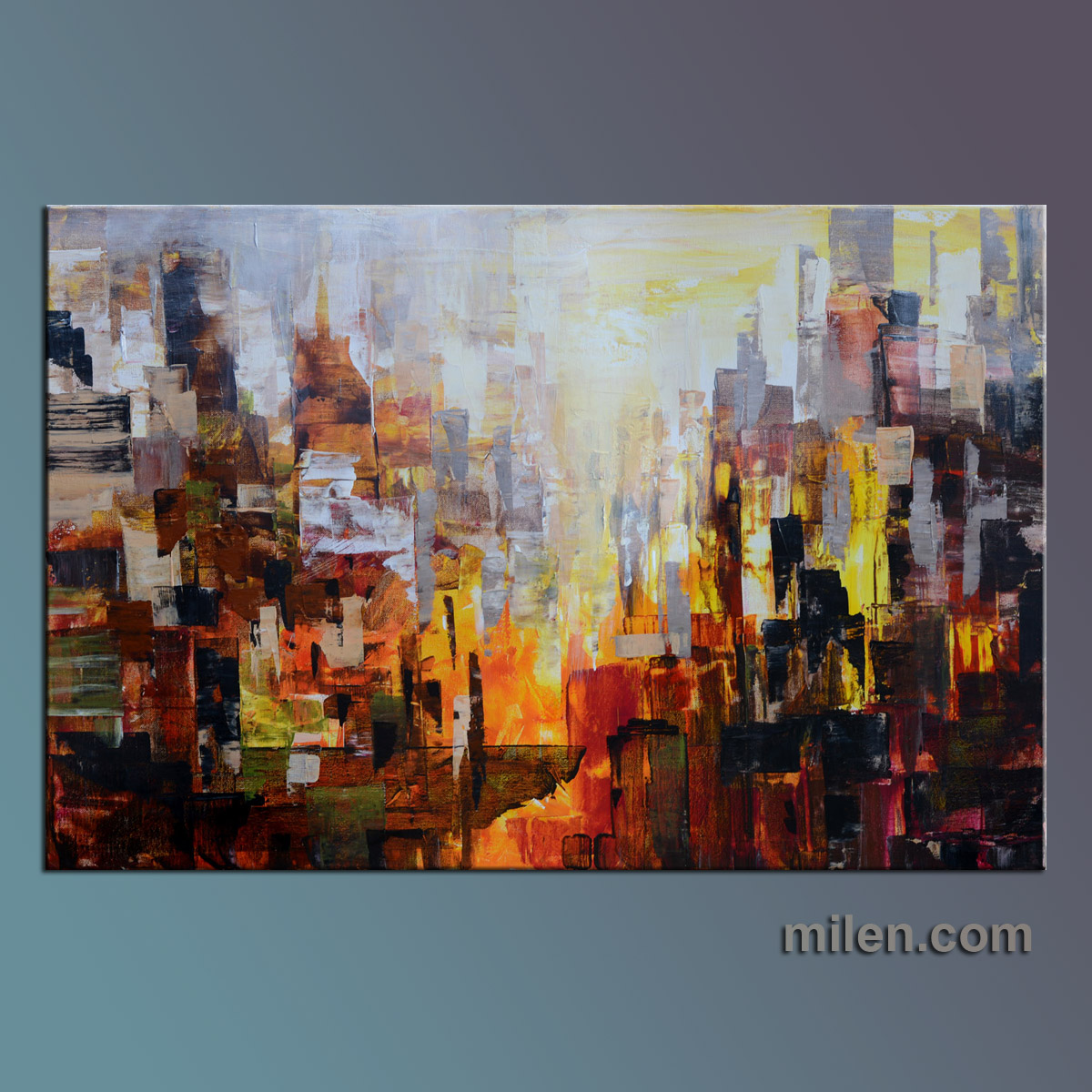 100 Hand Drawn City At Night 3 Knife Painting Modern: Abstract Paintings