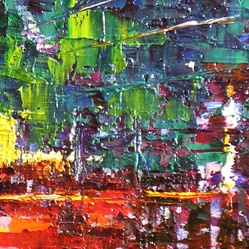 Detail Close up of Run The World abstract painting, oil on canvas impressionist palette knife textured painting abstract artwork