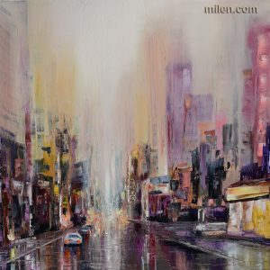 Purple Rain abstract cityscape abstract artwork