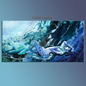 blue Dreams liquid fluid abstract aqua , teal, beach, woman figure, nude