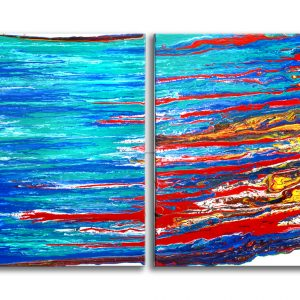 coast abstract painting puring liquide paint